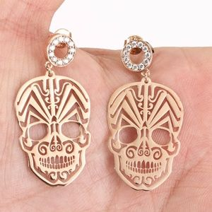 NEW GOLD DAY OF THE DEAD SKULL EARRING CRYSTAL 925